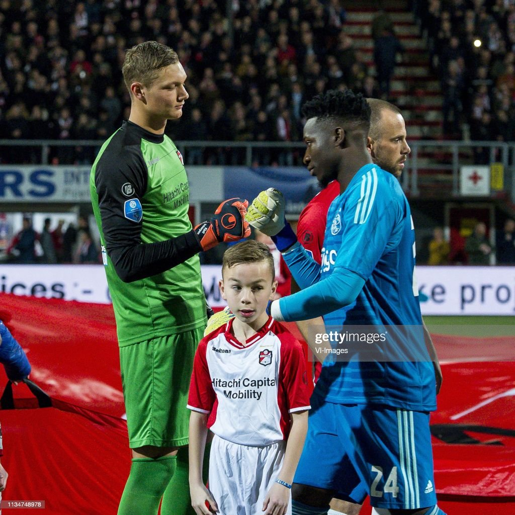 keeper Kjell Scherpen of FC Emmen, goalkeeper Andre Onana of Ajax... News  Photo - Getty Images