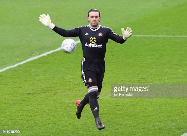 Keeper Lee Camp of Sunderland during the Sky Bet Championship match between Sunderland AFC and Sheffield Wednesday FC at Stadium of Light on April 2...