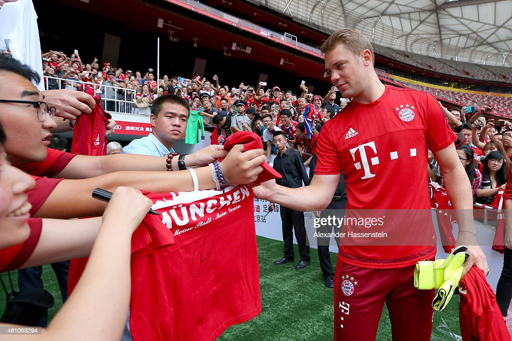 Keeper Manuel Neuer arrives for a FC Bayern Muenchen training session at National Stadium at day 1 of the FC Bayern Audi China Summer Pre-Season Tour on July 17, 2015 in Beijing, China.