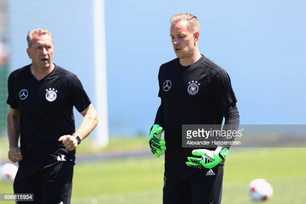 Keeper MarcAndre ter Stegen and assistent coach Andreas Koepcke during a team Germany training session at Park Arena training ground on June 17 2017...