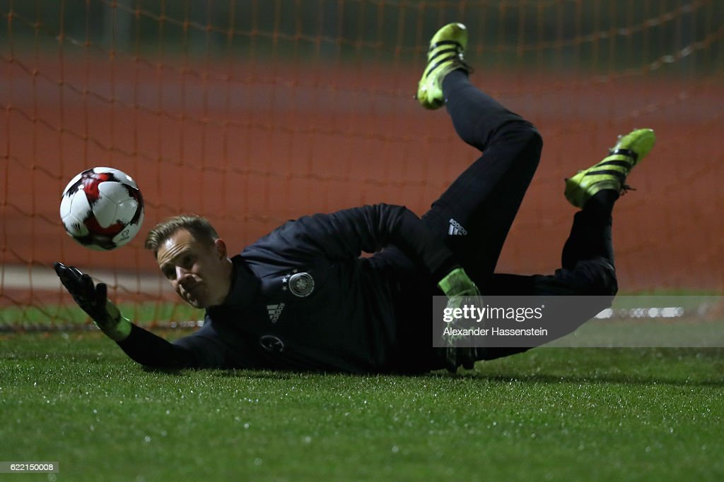 Keeper Marc-Andre ter Stegen safes the ball during a training session of the German national team at Stadio di Santamonica di Misano Adriatico on November 10, 2016 in Rimini, Italy.