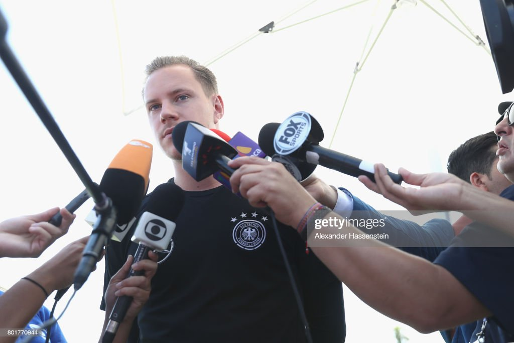Keeper Marc-Andre ter-Stegen of Germany talks to the media during a mixed zone press conference prior to a team Germany training session at Park Arena training ground on June 27, 2017 in Sochi, Russia.