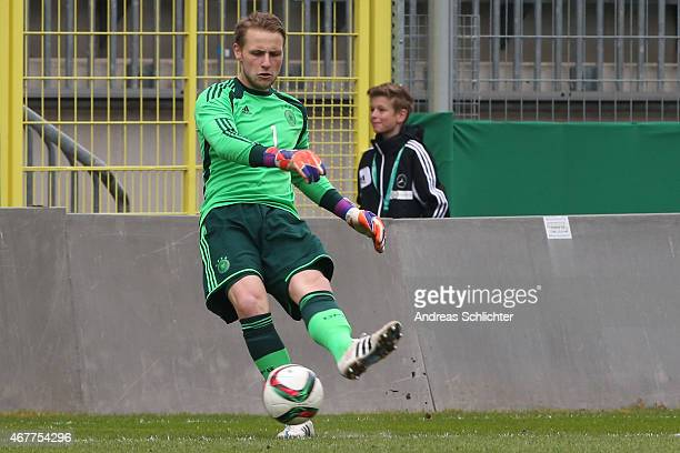Keeper Marius Funk of Germany during the UEFA Under19 Elite Round match between U19 Germany and U19 Slovakia at Carl-Benz-Stadium on March 26, 2015...