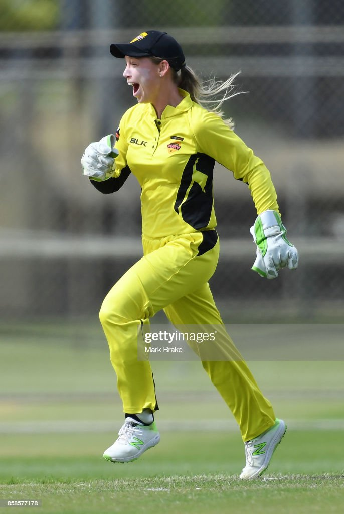 WA keeper Megan Banting celebrates the wicket of Corrine Hall during the WNCL match between Tasmania and Western Australia at Adelaide Oval No.2 on October 7, 2017 in Adelaide, Australia.