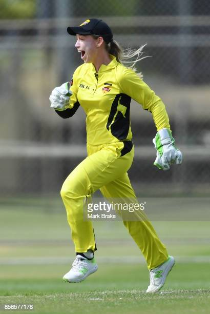 WA keeper Megan Banting celebrates the wicket of Corrine Hall during the WNCL match between Tasmania and Western Australia at Adelaide Oval No2 on...
