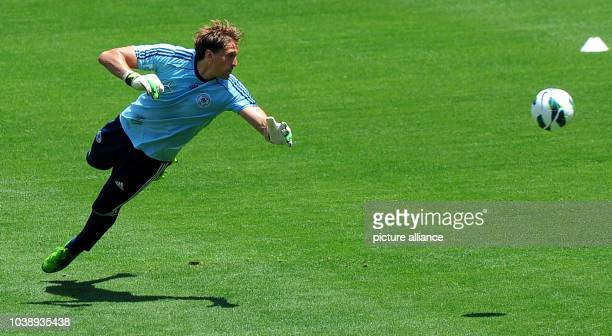Keeper Rene Adler reacts during the final training of German national soccer team in Robert F Kennedy Memorial Staion in Washingtonm USA 01 June 2013...