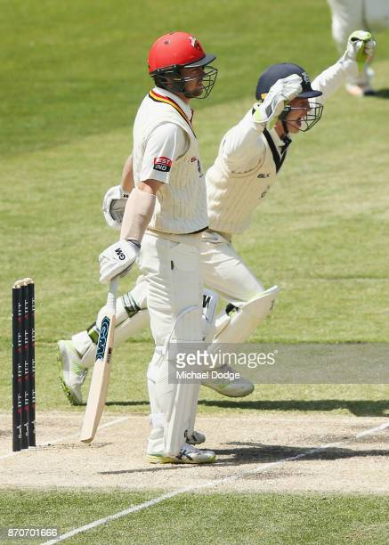 Keeper Sam Harper of Victoria celebrates the wicket of Travis Head during day three of the Sheffield Shield match between Victoria and South...