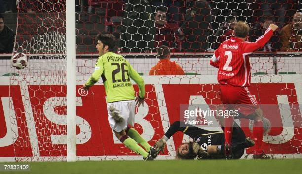 Keeper Stefan Wessels of Cologne concedes a goal from Steffen Bohl of Kaiserslautern during the Second Bundesliga match between 1.FC Cologne and 1.FC...