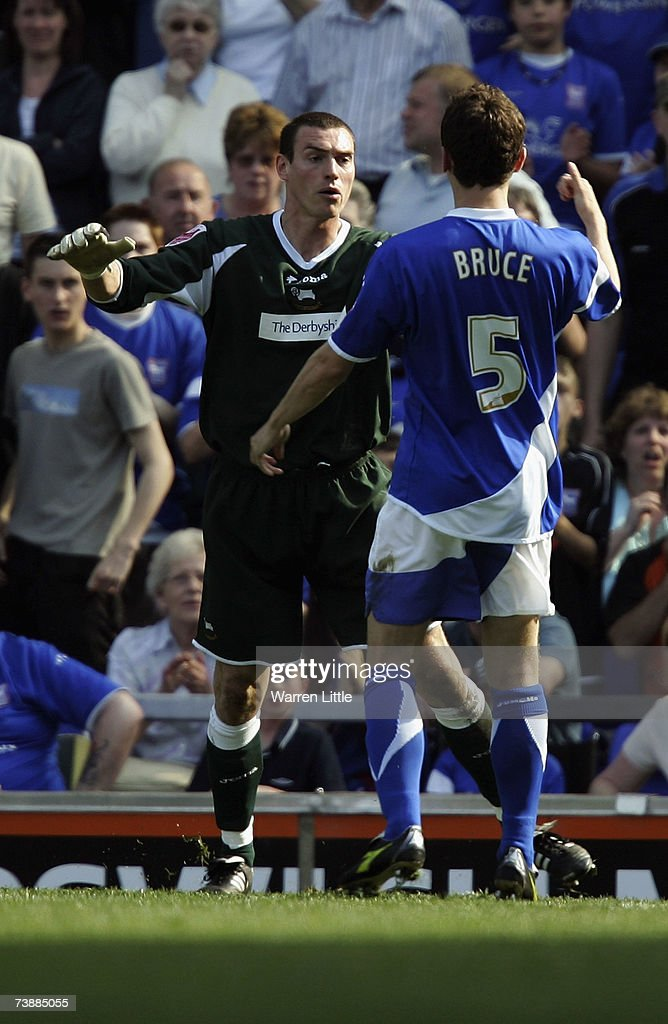 Keeper Stephen Bywater of Derby confronts Alex Bruce of Ipswich after they both where sent off during the Coca-Cola Championship Match between Ipswich Town and Derby County at Portman Road on April 14, 2007 in Ipswich, England.