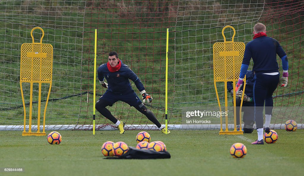 Keeper Vito Manonne during a SAFC training session at The Academy of Light on December 12, 2016 in Sunderland, England.
