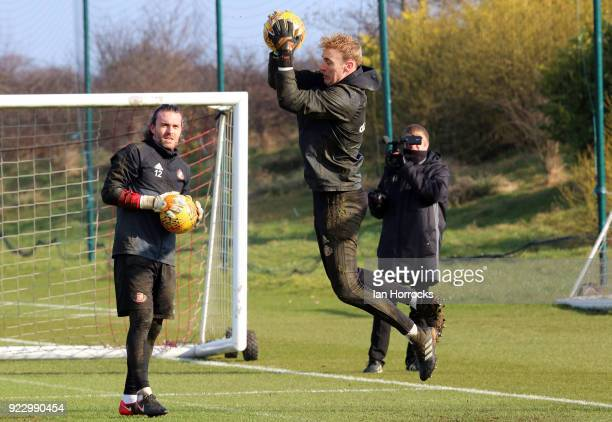 Keepers Jason Steele and Lee Camp during a training session at The Academy of Light on February 22 2018 in Sunderland England
