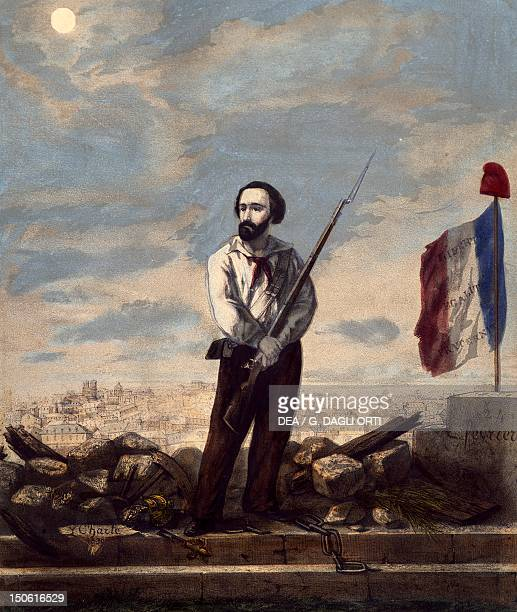 Keeping an armed vigil over Paris February 24 during the 1848 Revolution engraving France 19th century