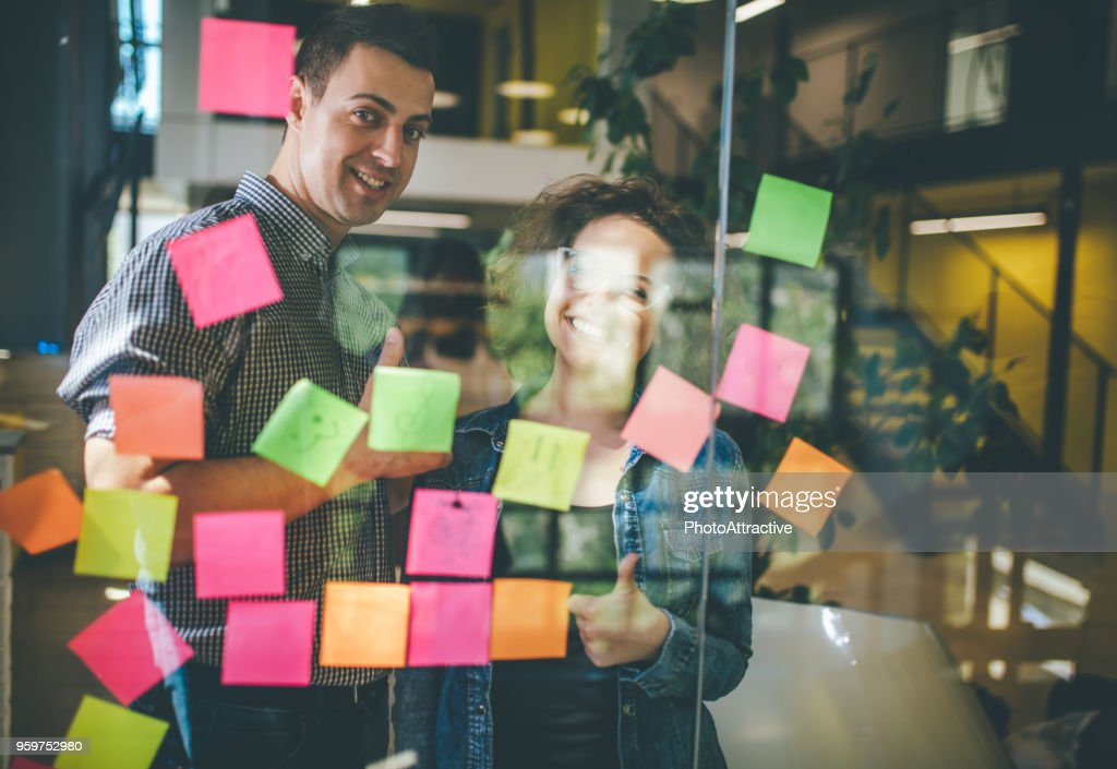 Keeping business evolving with a creative brainstorming session : Stock Photo