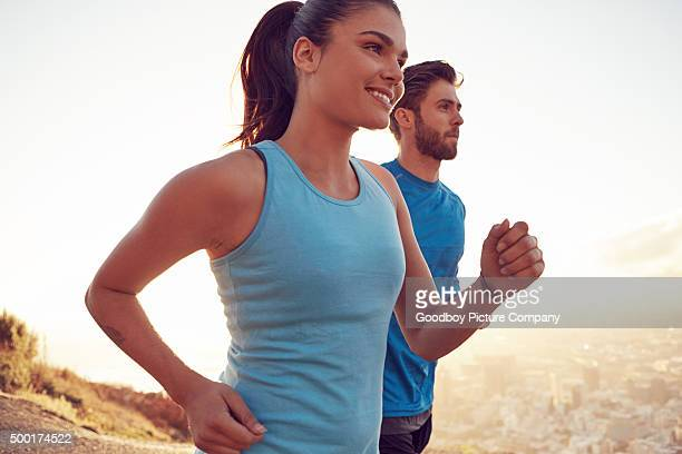 Keeping each other motivated during their run