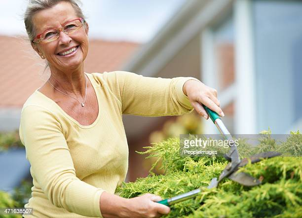 Keeping her garden in great condition