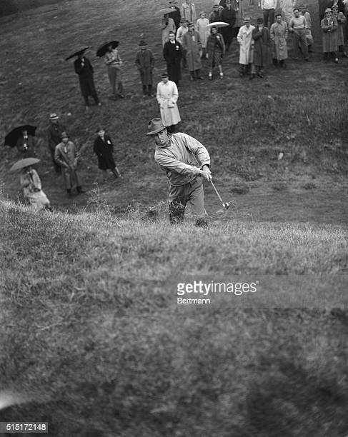 Keeping his cigarette in his mouth, Ben Hogan, professional golfer of White Plains, New York, blasts out of the rough on the 36th hole of the third...