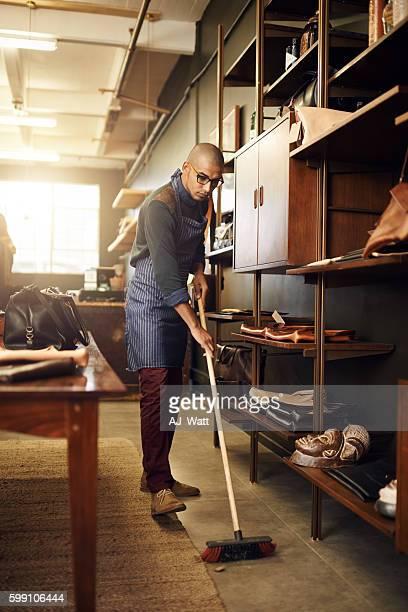 Keeping his shop clean
