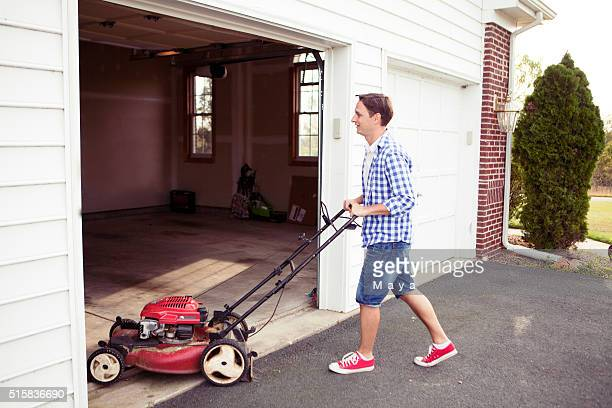 keeping house clean and orderly - lawn mower stock pictures, royalty-free photos & images