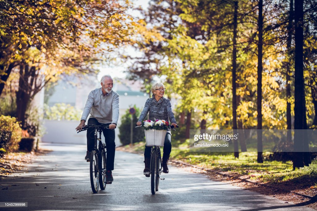 Keeping the body strong with regular bicycle rides : Stock Photo