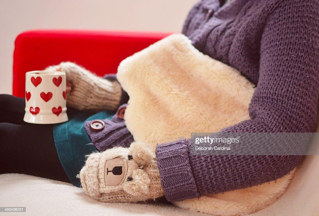 Keeping Warm In Winter : Stock Photo