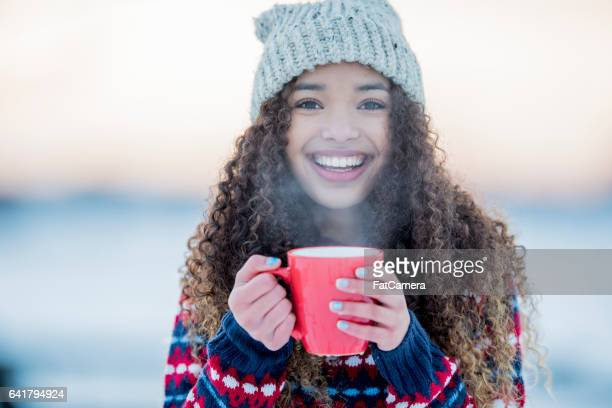 keeping warm on a cold day - hot tea stock pictures, royalty-free photos & images
