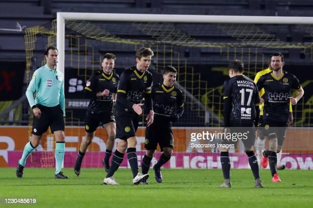 Kees Luijckx of Roda JC celebrates 1-1 with Danny Bakker of Roda JC during the Dutch Keuken Kampioen Divisie match between NAC Breda v Roda JC at the...