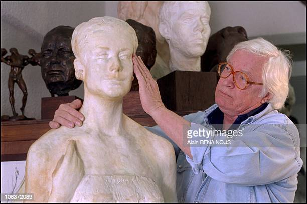 Kees Verkade and Princess Grace sculpture in Monaco on February 14 2001