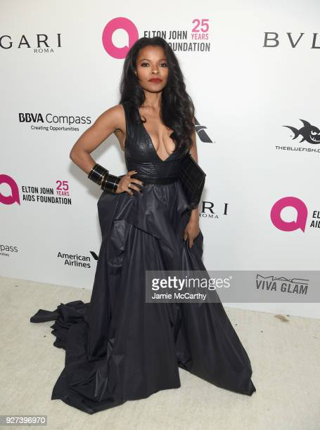 Keesha Sharp attends the 26th annual Elton John AIDS Foundation Academy Awards Viewing Party sponsored by Bulgari celebrating EJAF and the 90th...