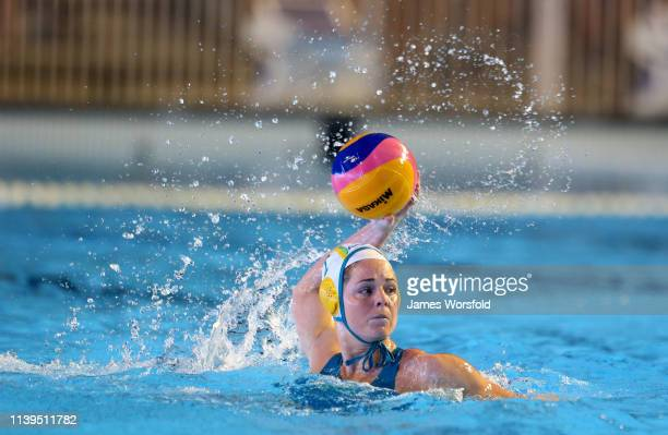 Keesja Gofers of Australia looks for options to pass too during the 2019 FINA World League Inter-Continental Cup Woman's Gold medal match between...