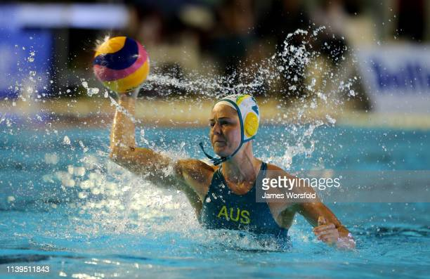 Keesja Gofers of Australia takes a penalty shot during the 2019 FINA World League Inter-Continental Cup Woman's Gold medal match between Australia...