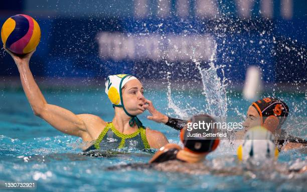 Keesja Gofers of Team Australia is challenged by Nomi Stomphorst of Team Netherlands during the Women's Preliminary Round Group A Water Polo match...