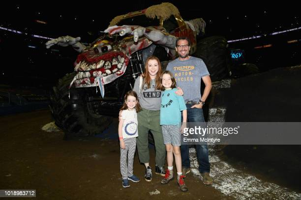 Keeva Denisof Alyson Hannigan Satyana Denisof and Alexis Denisof attend Monster Jam at STAPLES Center on Saturday August 18 2018 in Los Angeles CA