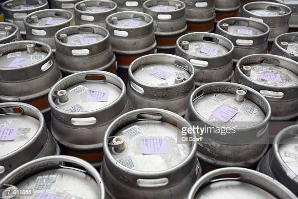 Kegs of beer are stacked in the Adnams brewery on June 25 2013 in Southwold England Established in the small Suffolk coastal town of Southwold in...