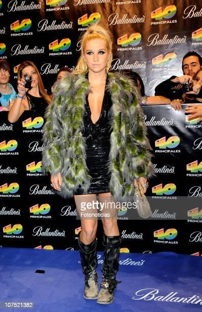 Ke$ha arrives to the '40 Principales Awards 2010' at the Palacio de Deportes on December 10 2010 in Madrid Spain