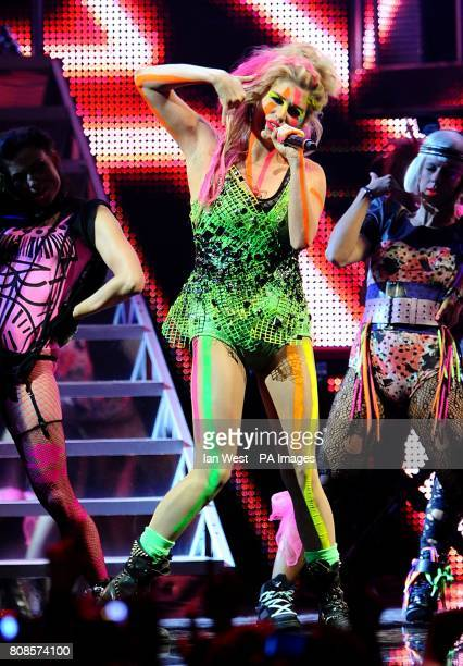 Ke$ha performs on stage during the 2010 MTV Europe Music Awards at the Caja Magica Manzanares Park Madrid Spain