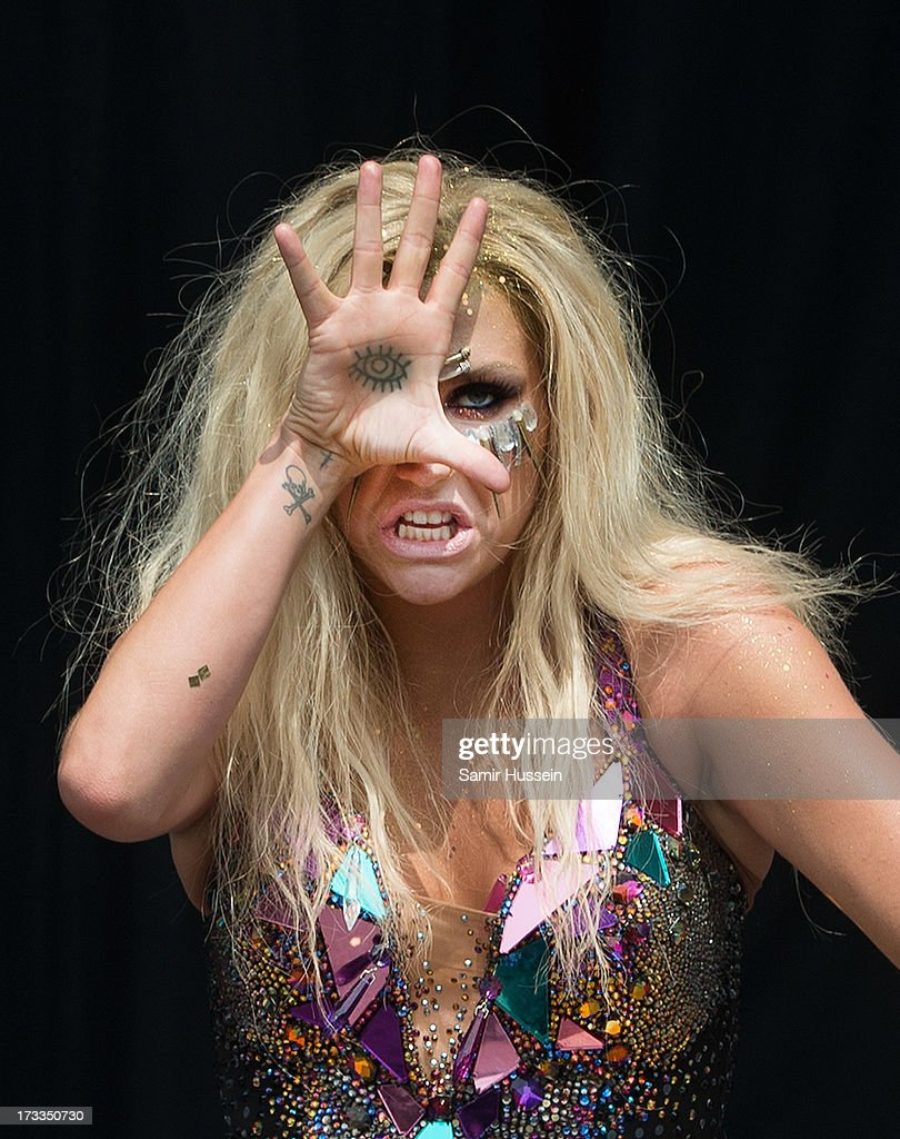 Ke$ha performs on the main stage on day 1 of the Yahoo! Wireless Festival at Queen Elizabeth Olympic Park on July 12, 2013 in London, England.