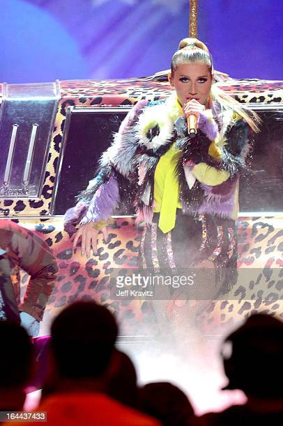 Ke$ha performs onstage at Nickelodeon's 26th Annual Kids' Choice Awards at USC Galen Center on March 23 2013 in Los Angeles California