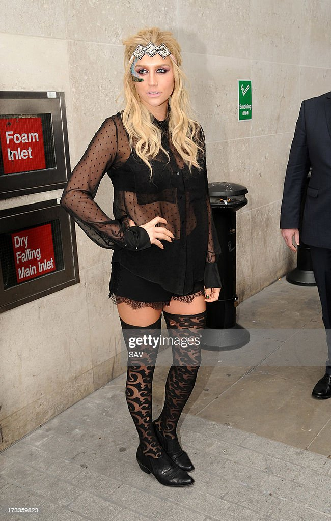 Ke$ha pictured at the BBC Radio 1 studios on July 12, 2013 in London, England.