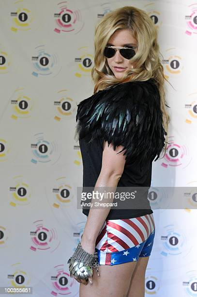 Ke$ha poses for photos backstage during day two of BBC Radio 1's Big Weekend on May 23 2010 in Bangor Wales