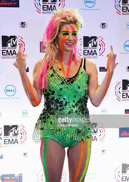 Ke$ha poses in front of the media boards at the MTV Europe Music Awards 2010 at La Caja Magica on November 7 2010 in Madrid Spain