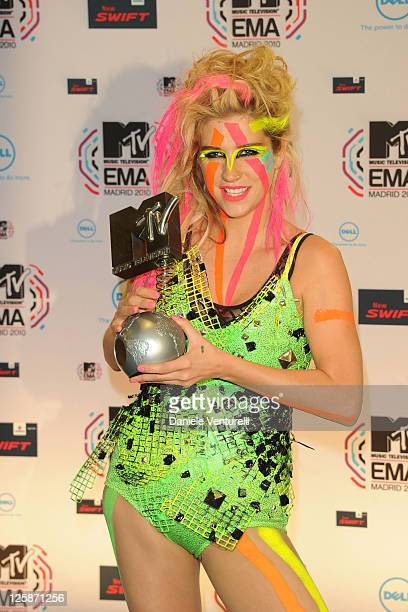 Ke$ha poses in front of the media boards at the MTV Europe Music Awards 2010 on November 7 2010 in Madrid Spain