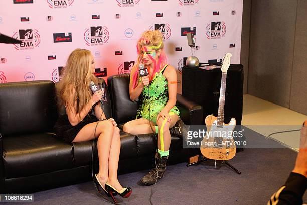 Ke$ha poses in the Digital Studio at the MTV Europe Music Awards 2010 at La Caja Magica on November 7 2010 in Madrid Spain