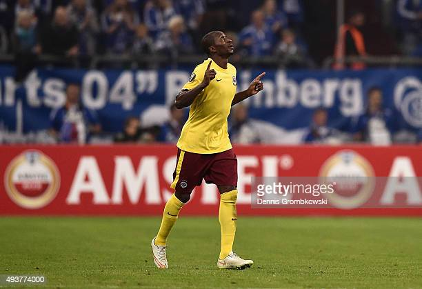 Kehinde Fatai of Sparta Prague celebrates as he scores their first and equalising goal during the UEFA Europa League Group K match between FC Schalke...