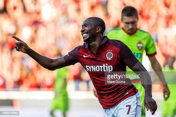 Kehinde Fatai of Sparta Prague celebrates scoring their second goal during the UEFA Champions League Third Qualifying Round 2nd Leg match between...