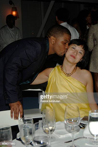 Kehinde Wiley and Christine Y Kim attend Rush Philanthropic Dinner hosted by Russell Simmons and Kehinde Wiley at The Delano on December 6 2006 in...