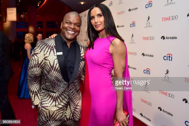 Kehinde Wiley and Padma Lakshmi attend the 2018 TIME 100 Gala at Jazz at Lincoln Center on April 24, 2018 in New York City.