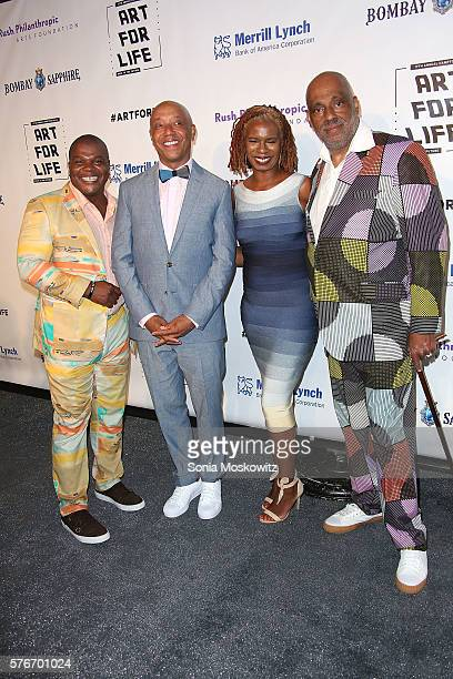 Kehinde Wiley Russell SimmonsTangie Murray and Danny Simmons attend the Rush Philanthropic Arts Foundation's Annual Art for Life Benefit at Fairview...