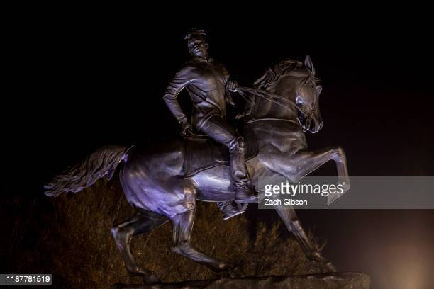 Kehinde Wiley's statue Rumors of War is pictured during an unveiling ceremony at the Virginia Museum of Fine Arts on December 10 2019 in Richmond...