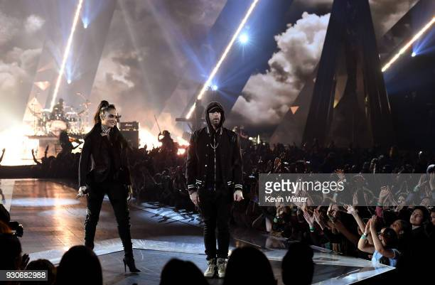 Kehlani and Eminem perform onstage during the 2018 iHeartRadio Music Awards which broadcasted live on TBS TNT and truTV at The Forum on March 11 2018...