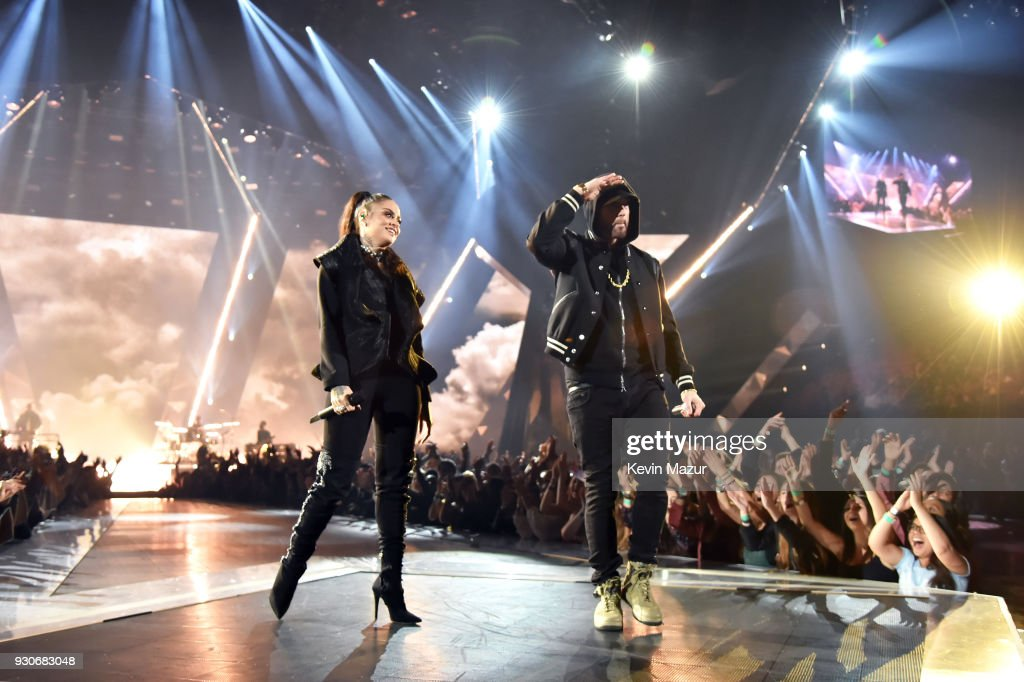 Kehlani (L) and Eminem perform onstage during the 2018 iHeartRadio Music Awards which broadcasted live on TBS, TNT, and truTV at The Forum on March 11, 2018 in Inglewood, California.